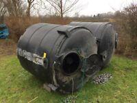 2 very large filter tanks 1.3 m diameter x 1.3m high half full of k1 filter media