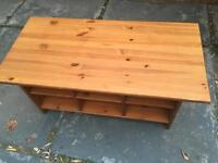 Wood coffee table with boxes