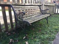 Cast iron garden bench with lion heads