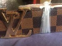 Louis vuittons gold belt mens