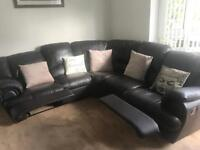Brown leather corner unit and 3 seater sofa for sale