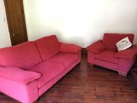 Large 3 Piece Suite For Sale, Hard Wearing Practical Washable Covers, Chairs Hardly Used