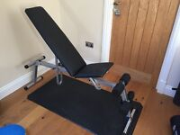 Kettler Universal Weight Training Exercise Bench - adjustable back and seat - Good As New
