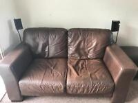 Brown leather 2 seater sofa and one seater