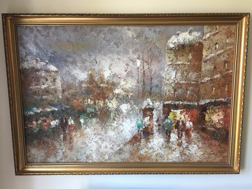 Original Large Framed Oil Painting In French Impressionist Style On