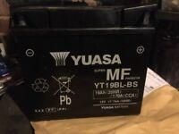 Yuasa YT19BL. BMW bike battery. 6 weeks old.