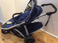Phil and Teds Vibe 3 Tandem Pram + Double Kit cobalt blue