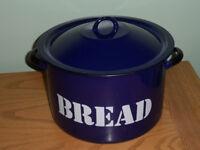 Blue Enamel Bread Bin holds 2 standard sized loafs