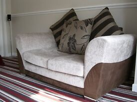 2 Baige and Brown fabric two seater sofa's