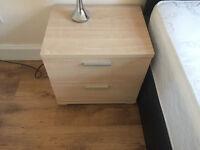 2 lovely Bedside Tables - 2 drawers in each - Light Oak finish
