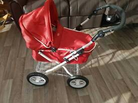 Silver Cross Ranger Toy Doll's Pram. Red. As new condition