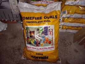 LARGE 25KG BAGS OF HOME FIRE OVALS SMOKELESS FUEL .