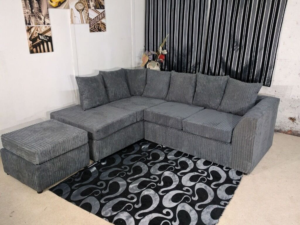 ** 1 YEAR WARRANTY** BRAND NEW KINGSTON JUMBO CORD CORNER SOFA ON SPECIAL OFFER