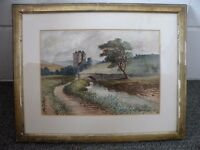 Old Watercolour Landscape Painting Dated 1883 and Signed Paterson