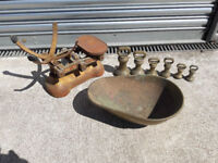 Vintage Weighing Scales circa 1950 with brass weights and brass bowl