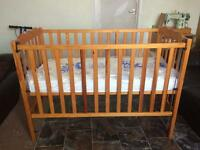 Mamas and papas cot bed with brand new mattress