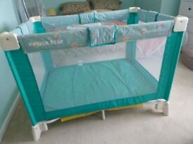 TRAVEL COT AND PLAY PEN good condition comes complete with bedding