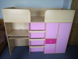 Mid sleeper bed with desk, wardrobe and shelves