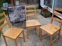 IKEA WOODEN CHAIRS X 3