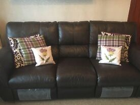 Large 3 and 2 seater leather reclining Sofas
