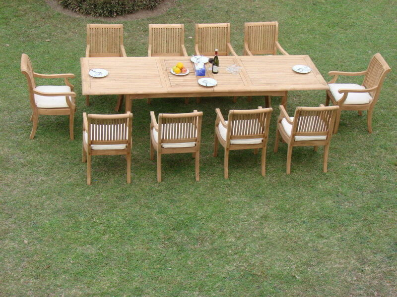 "11-piece Outdoor Teak Dining Set: 117"" Rectangle Extn Table, 10 Arm Chairs Giva"