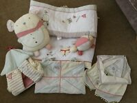 Mamas and Papas 'Whirligig' cot bedding plus accessories.