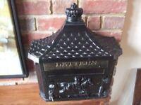 Metal post box in black 36 x 30 x16 cm