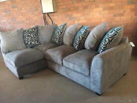 NEW LHF GREY CORNER SOFA - furniture village - can deliver
