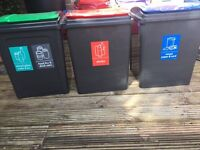3 x 50L storage / recycling boxes containers tubs excellent condition