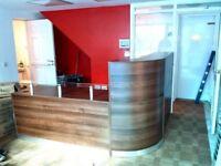 Walnut reception desk , Designer's curved with drawer unit