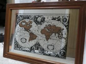 Hondio Nova Totivus Terrarvm World Map Mirror in Mahogany frame