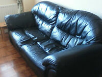 Black leather 3 seater and 2 seater sofa for sale. Good condition no tears or marks.