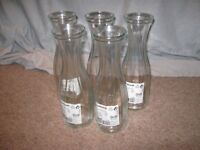 IKEA 'LONSAM' , 1 LITRE, GLASS WATER / WINE CARAFES - SET OF 5.