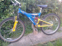 Young Adults Full Suspension Mountain Bike,24in Wheels,21 spd, Alloy handles/Crank/Wheels, Bull bars