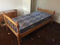 Single Wooden Bed Frame + Mattress