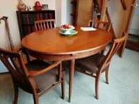 Large extendable dining room table and 6 chairs Retro vintage