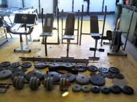 Various weight benches and weights