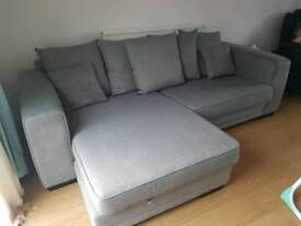 Grey 4 seater chaise sofa, snuggle seat and foot rest