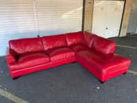 DFS Red Leather Corner Sofa - Can Deliver