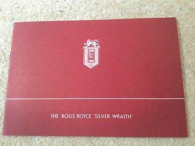 rolls royce silver wraith brochure c1948 with price list