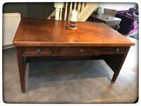 Large Vintage Oak & Walnut Veneered Desk
