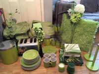 Large bundle of green kitchen accessories