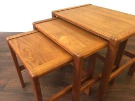 Retro Mid Century Oak and Teak Nest of Tables Vintage G plan era Danish Style