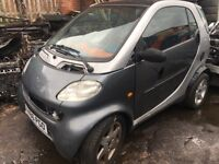 SMART CAR FORTWO PASSION, (LHD) 0.7, AUTOMATIC, 2001 (X REG), BREAKING FOR SPARES
