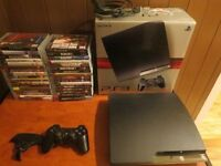 ps3 slim 250gb 33 games,one controler,clip on keypad.