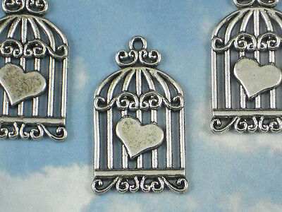 4 Heart Bird Cage Charms Silver Tone Pendants Slender 2mm Cards Paper Arts #P839