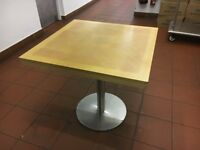 Used - Contemporary One (1) Beige Sand Wooden Square Table with Metal Leg - Standard Size