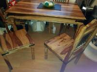 Solid wood with stunning details table and 4 chairs