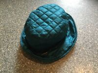 ORIGINAL BARBOUR ladies quilted hat turquoise colour. IMMACULATE CLEAN CONDITION.