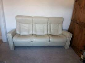 Three seater real leather cream recliner sofa